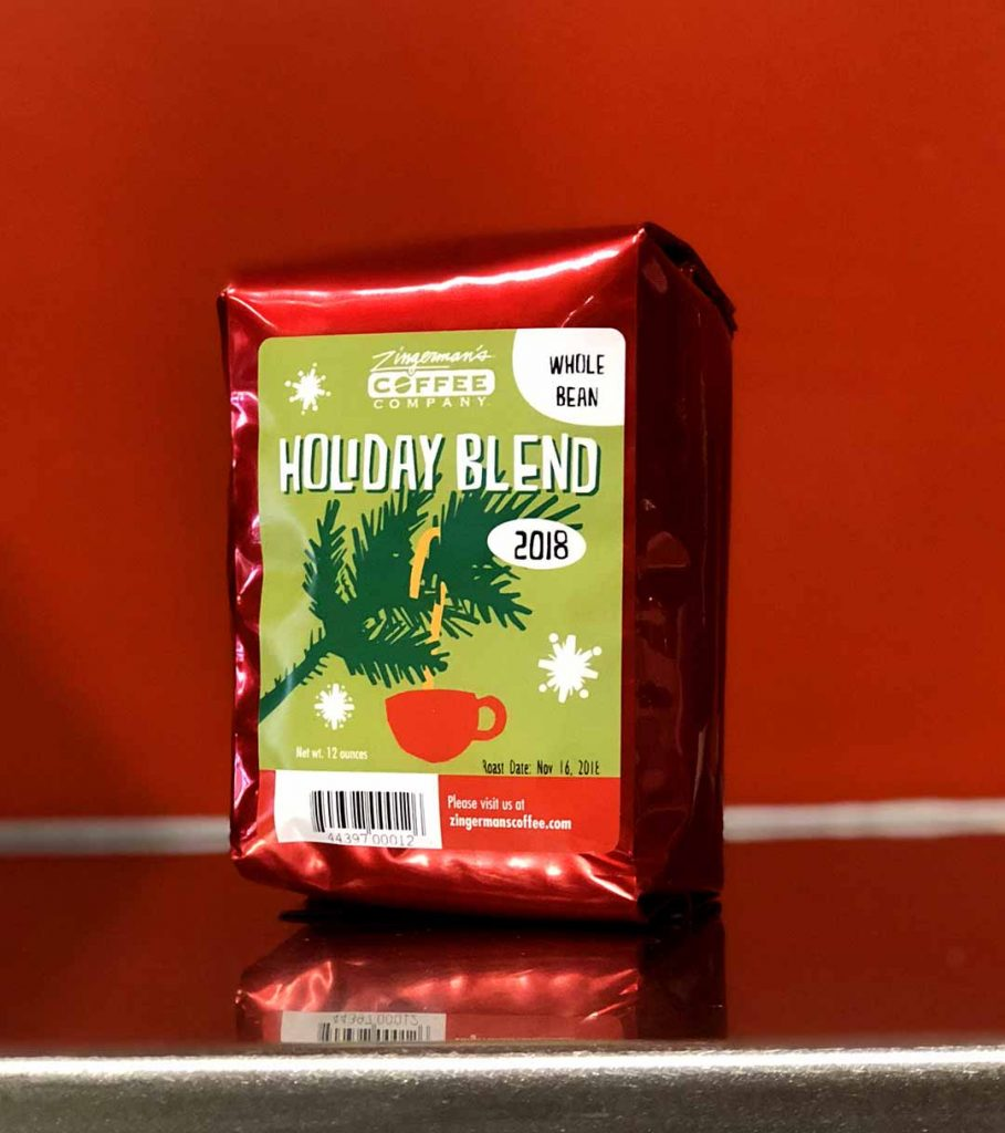 a festive bag of holiday blend coffee