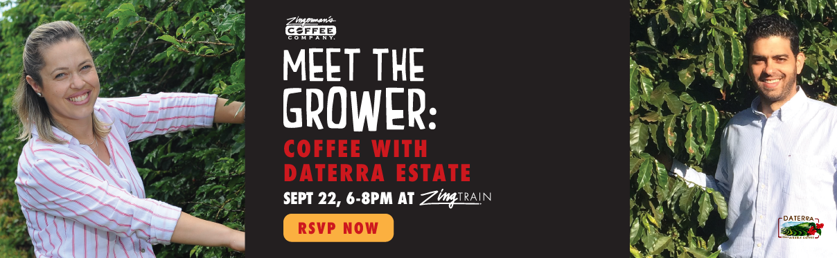 Meet the Grower: Coffee with Daterra Estate, September 22, 6-8pm at ZingTrain