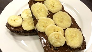 toast with Nutella spread and sliced bananas