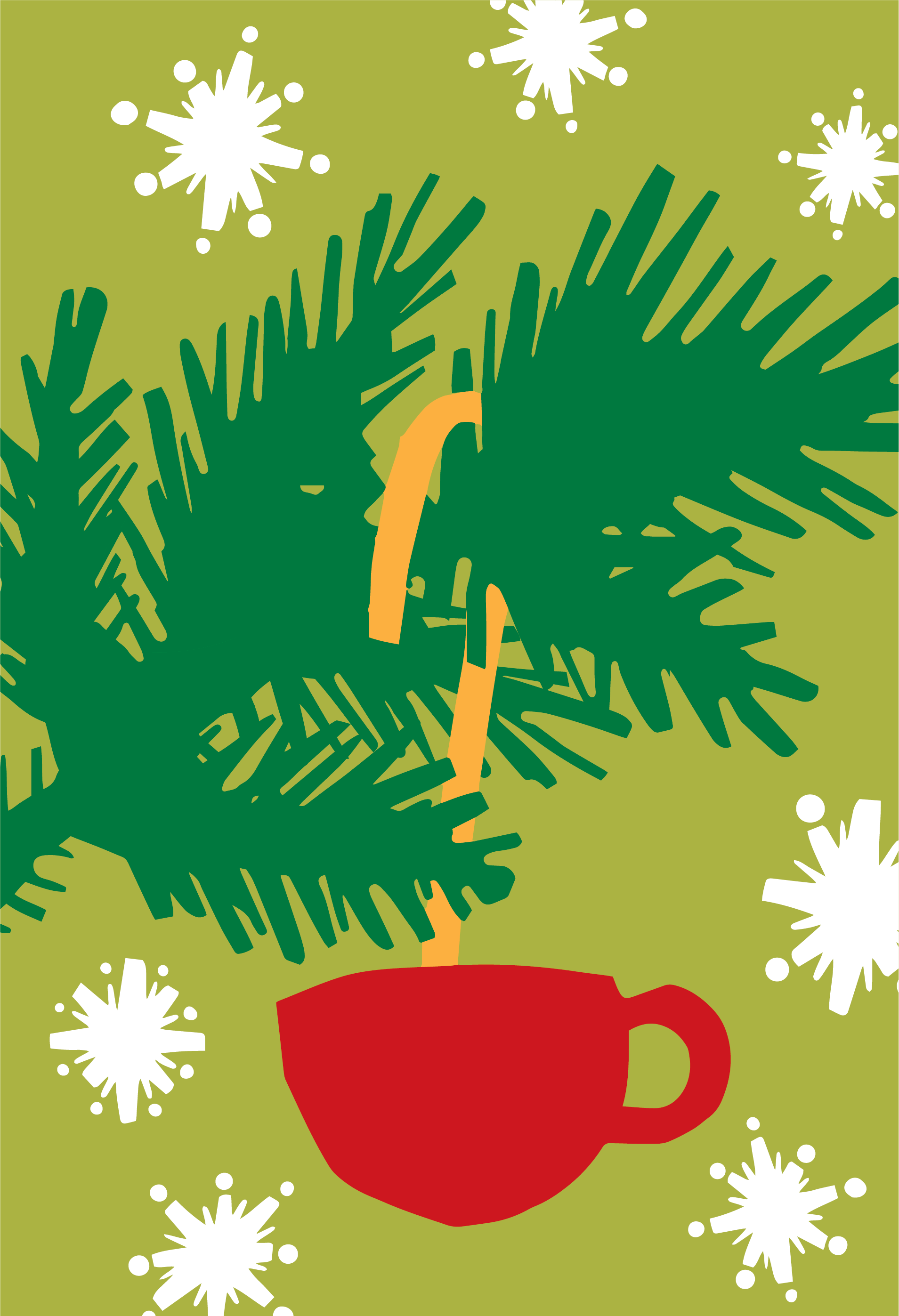 Illustration of red coffee mug ornament hanging from a Christmas tree branch